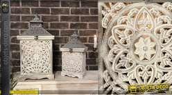 Duo de lanternes blanches en bois sculpté motifs mandalas 52 cm