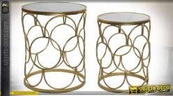 TABLE AUXILIAIRE SET 2 MÉTAL MARBRE 40X40X49 MAT