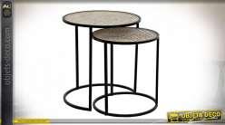 TABLE AUXILIAIRE SET 2 MÉTAL 45,5X45,5X50 38X43