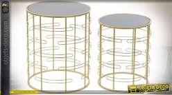 TABLE AUXILIAIRE SET 2 MÉTAL VERRE 40,4X40,4X49,4