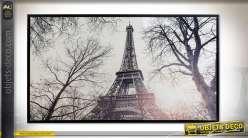 TABLEAU TOILE PS 144X3,5X84 PARIS ENCADRÉ BLANC