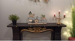 Horloge de table décorative en forme de vélo, ambiance road trip avec panneaux de signalisation, 44cm