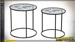 TABLE AUXILIAIRE SET 2 MÉTAL 45X45X45 CARTE DU MON