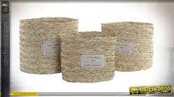 CORBEILLE SET 3 FIBRE SEAGRASS 35X35X33 NATUREL