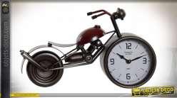 HORLOGE MÉTAL VERRE 32,5X10X18 MOTO ROUGE
