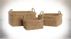 CORBEILLE SET 3 FIBRE 50X40X30 NATUREL