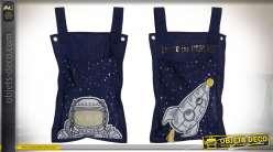 Série de deux sacs en tissus avec motifs d'astronautes, ambiance lunaire et chambre d'enfant, 51 cm