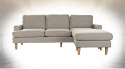 Canapé d'angle modulable en lin finition gris clair ambiance contemporaine, 193cm