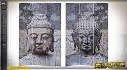 Série de deux grands paravents en toile et bois de sapin, motifs de Bouddha méditatifs sur fonds de fleurs tropicales, 180cm