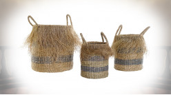CORBEILLE SET 3 FIBRE 35X35X45 FRANGE NATUREL