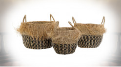 CORBEILLE SET 3 FIBRE 40X40X40 FRANGE NATUREL