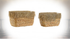 CORBEILLE SET 2 ROSEAU 40X30X26 FRANGE NATUREL