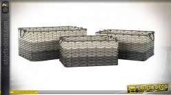 CORBEILLE SET 3 PVC 54X38X25 GRIS