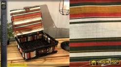 Coffret en osier teinté noir brillant et doublure intérieure en coton motifs bayadères colorées, 34cm