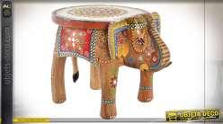Table auxiliaire colorée en forme d'éléphant et bois de manguier