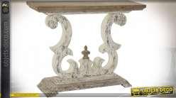 Console d'entrée en bois de sapin, pied blanchi et plateau effet naturel, forme de lyre, 120cm