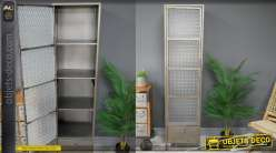 Colonne de rangement de style industriel avec porte vitrée effet verre armé, 4 niveaux, 162cm de haut