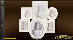 Pèle-mêle de 6 cadres style romantique patine blanche