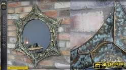 Miroir mural en forme d'étoile, en métal finition bronze oxydé et vieux doré, 71cm
