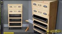 Chiffonnier en bois de sapin et métal, de style industriel, 2 tiroirs et 3 bac en tôle perforée, 92cm