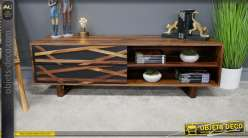 Meuble télé en essence de shesham massif, de style rétro, finition à reflets et 2 tiroirs de rangement, 130cm