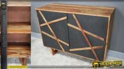 Buffet à deux portes en bois de rose massif, de style rétro, finition naturel richement veiné et façades effet ardoise, 100cm