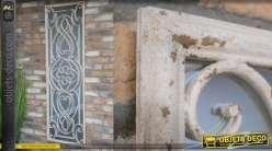 Grand miroir mural en métal, finition crème effet vieilli, esprit portillon de jardin en fer forgé, 162cm
