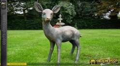 Statuette d'un faon sauvage nommé Bambi, finition bronze effet ancien avec reflet doré et cuivré, 62cm