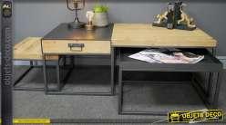 Table basse modulable en bois de sapin et métal, en 3 parties, de style moderne et linéaire, 118cm