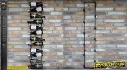 Grand porte-bouteilles mural en métal, pour 12 bouteilles de vin, en métal finition anthracite foncé, 135cm de haut