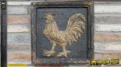 Cadre mural en bois effet vieux métal noir oxydé, coq central finition doré ancien, esprit brocante, 50cm