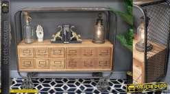 Meuble de rangement esprit console de style industriel, en bois de sapin et métal finition anthracite, 114cm