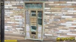 Vitrine de rangement de style vintage, esprit meuble d'apothicaire avec 16 tiroirs et 8 espaces libres, 161cm de haut