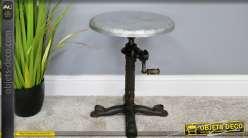 Table d'appoint ajustable en hauteur de style industriel, en fonte effet vieilli et métal, manivelle en bois, Ø35cm