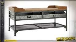 Table basse en bois de sapin finition naturel et tiroirs en zinc esprit vieille ferme, 100cm