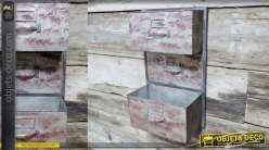Unité de stockage murale en métal finition rouge vieilli, esprit industriel, 2 niveaux de rangement, 50cm