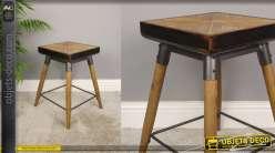 Tabouret de forme carrée en bois et métal, esprit industriel/atelier finition clair, assise effet géométrique, 48cm
