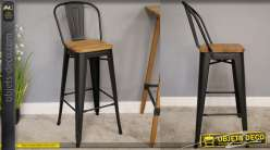Chaise de bar en métal finition noir mate, assise en bois orme massif finition naturel, esprit années 60, 107cm