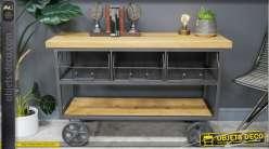 Meuble de rangement esprit chariot industriel avec tiroirs grillagés, grandes roues effet fonte et plateau en bois de sapin massif, 120cm