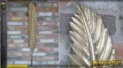 Grande plume d'oiseau en métal, modèle murale finition vieux doré avec reflets foncés, 110 cm de hauteur finale