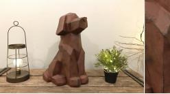 Représentation d'un chien en version origami, finition brun effet ancien, pour extérieur, 50cm de haut