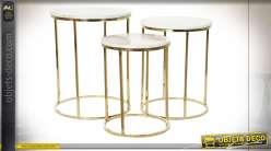 TABLE AUXILIAIRE SET 3 ALUMINIUM MARBRE 46X46X58