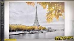 TABLEAU TOILE PAILLETTES 150X3X100 PARIS GRIS