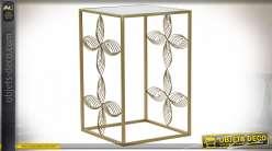 Table auxiliaire en forme de fleurs dorées esprit rétro chic, plateau en miroir, 59cm