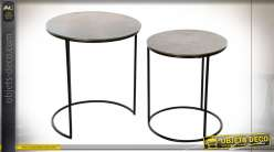 TABLE AUXILIAIRE SET 2 ALUMINIUM 46,5X46,5X53,5