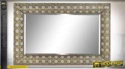 Grand miroir rectangulaire esprit moucharabieh finition doré vieilli, 124cm