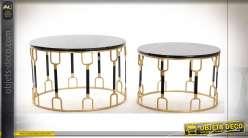 TABLE AUXILIAIRE SET 2 MÉTAL MARBRE 67X67X42 NOIR
