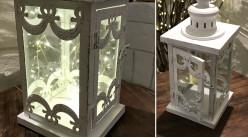 Petite lanterne en métal finition blanc effet ancien, gros anneau de suspension, 31cm