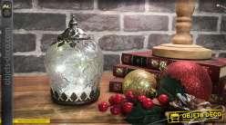 Petite lanterne en verre irisé transparent et métal effet vieilli en forme de feuilles, LED  piles, 15cm