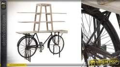 Bibliothèque en bois de bouleau blanchi et base en châssis de vélo métallique style rétro, esprit vintage, 190cm
